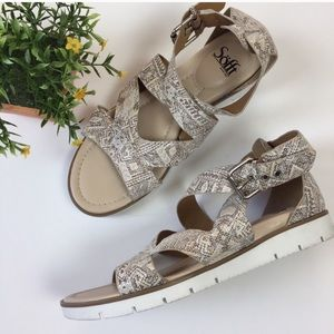 Sofft Mirabelle White Tribal Leather Sandals